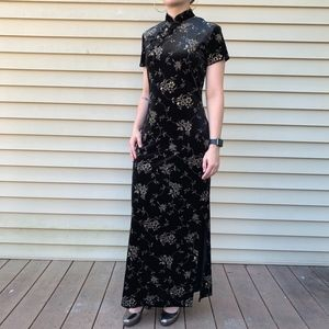 Vintage Black Gold Cheongsam Maxi Dress
